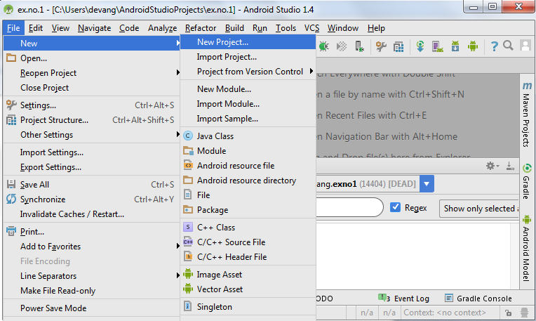 Simple Android Application that makes use of Database
